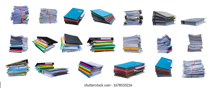 collection of Pile of papers with document file isolated bound with string on white background