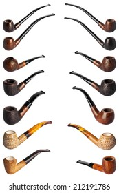 collection pipes for smoking tobacco isolated on white background