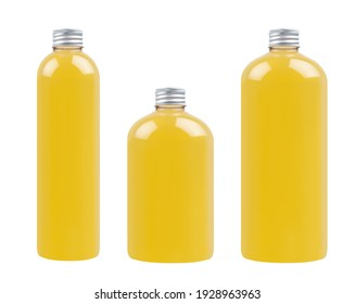 Collection plastic transparent bottles - tall, low and thick with orange drink, cooking oil or cosmetic produce, silver cap mockup, isolated, template.