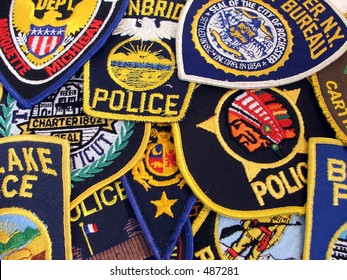 a collection of police patches