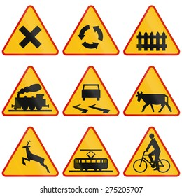 Collection of Polish warning signs regarding intersections and crossings.