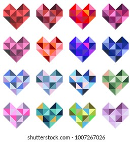 Collection of polygonal red hearts on white background