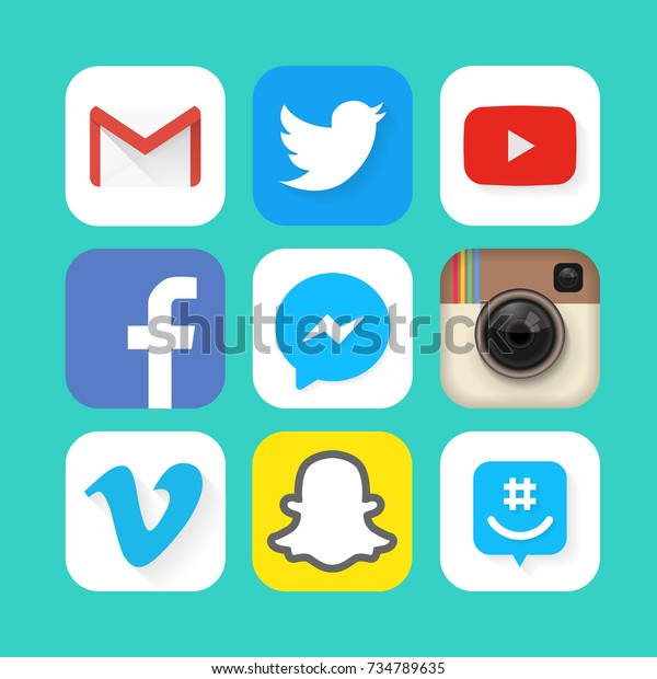 Collection of popular social media icons: Facebook, Twitter, Instagram, YouTube, Vine, Snapchat and others