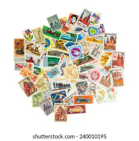 Collection of postage stamps of different USSR countries isolated on white