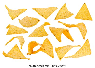 Collection of potato chips isolated on white background