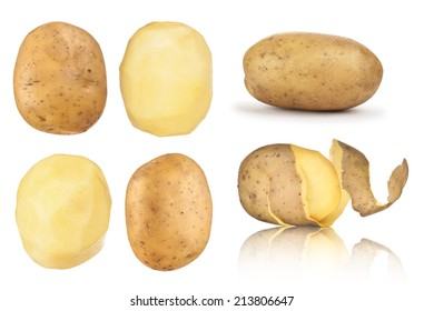 collection of potatoes peeled, in the peel on an isolated white background