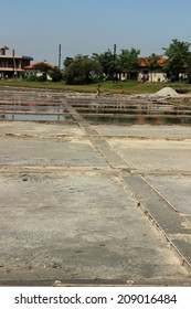 Collection process in the production of salt, Pomorie, Bulgaria, July 27, 2014
