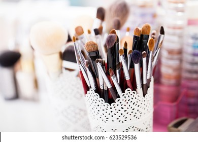 Collection of professional makeup brushes
