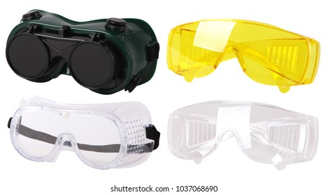 Collection of  protective spectacles (Safety glasses). Plastic Protective Work Glasses