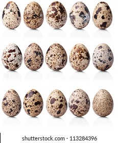 collection of quail eggs isolated on white background