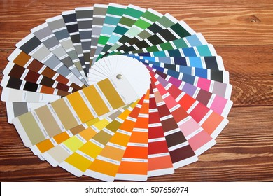 collection of ral colours on wooden background