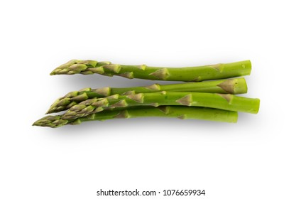 Collection of Raw Garden Asparagus with Clipping Path. Fresh Green Spring Vegetables Isolated on White Background. Edible Sprouts of Asparagus Officinalis Flat Lay and Top View