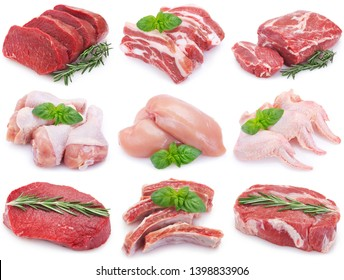 collection of raw meat isolated on white background