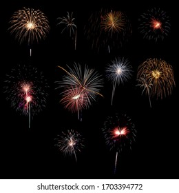 Collection of real photo 10 brightly colorful fireworks design elements Isolated on black background at fireworks festival