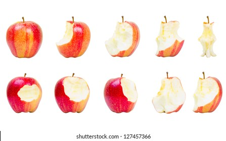 Collection of red apples in different consummation stages, Isolated on White Background ,red apple isolated on white background
