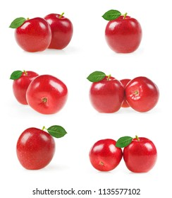 Collection of red apples with green leaf isolated on white background