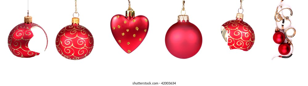 Collection of red Christmas balls