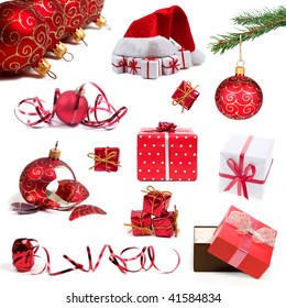 Collection of red Christmas decorations and gifts on white background