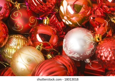 collection of  red and gold christmas balls