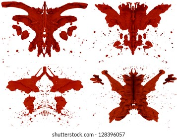 Collection of red inkblots inspired by Rorschach Test