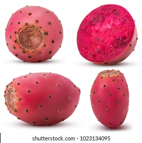 Collection red opuntia, whole, cut in half isolated on white background. Clipping Path. Full depth of field. - Shutterstock ID 1023134095