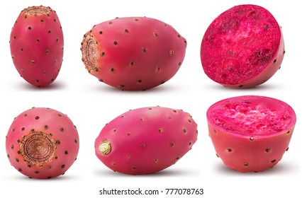 Collection red opuntia, whole, cut in half isolated on white background. Clipping Path. Full depth of field.