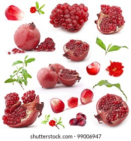 Collection of red pomegranate fruits, with green leaves and flowers isolated on white background