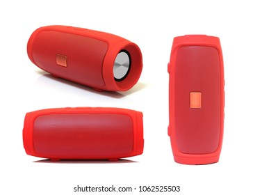 collection of red speaker isolated on white background