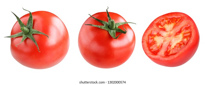 collection of red tomatoes isolated on white background. whole vegetables and half.