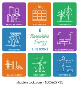 Collection of renewable energy icons in thin line style. Different types of ecological electricity sources in linear symbols.
