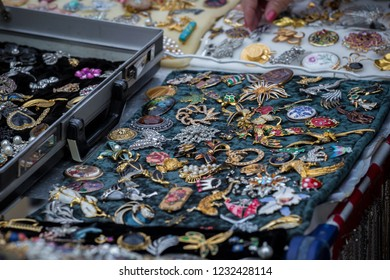 Collection of retro brooches at the flee market