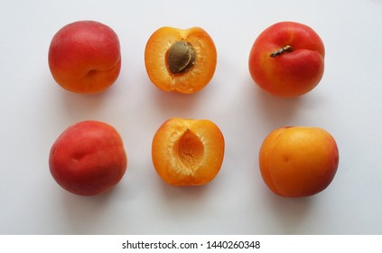 Collection of ripe apricots isolated on the white background.