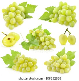 Collection of Ripe grapes with leaves, Isolated on white background