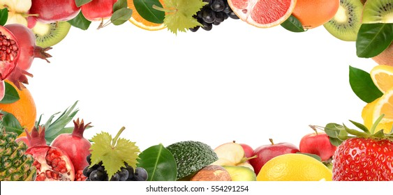 Collection of ripe and juicy fruit on a white background