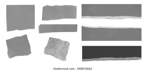 Collection of ripped paper isolated on white background with copy space for text