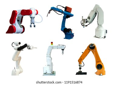 Collection Robot mechanical arm and camera in the future, work instead of man white background
