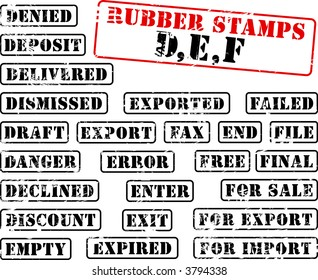Collection of rubber stamps with words beginning with letter D, E, F. See other rubber stamp collections in my portfolio.