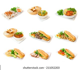 Collection of b�¡nh m�¬ sandwiches and asian soup on the white background. Banh mi - white baguettes prepared with different feelings like beef, chicken, bacon, eggs. Decorated with fresh coriander.