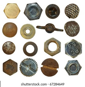 Collection Screw heads, bolts, steel nuts,old metal nail, isolated on white background