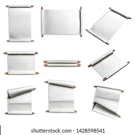 collection of Scroll paper on white background,Wooden roller handles