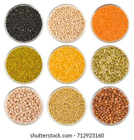 Collection of Seeds in Black Gram, Black Eyed Peas, Red Lentils, Masoor Dal, Green Mung Beans, Split Chickpea, Raw Split Mung Bean Lentils, Chick Pea, Kabuli Chana, Dried Coriander, Black Chick Pea