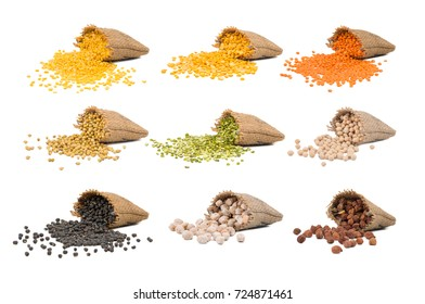 Collection of Seeds in Yellow Split Dal, Mogar Dal, Split Chickpea, Red Lentils, Masoor Dal, Dried Coriander, Mung Bean Lentils, Black Eyed Peas, Black Gram, Chick Pea, Kabuli Chana, Black Chick Pea