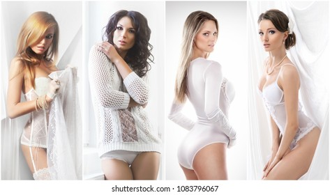 Collection of sensual women posing in bridal underwear. Spring collage.