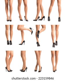 Collection set of beautiful fit woman legs in stockings and high heels in various different poses. Isolated over white.