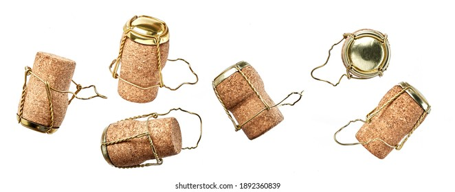 Collection set of bottle corks and muselets from bottles of champagne wine isolatad on wight background.
