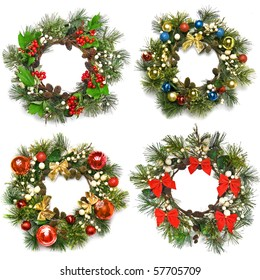 Collection set of christmas wreath isolated on a white background