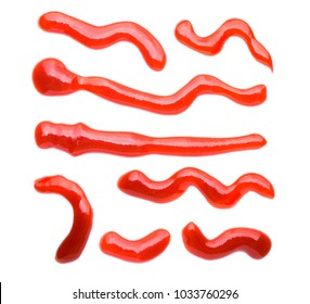 Collection set closeup red ketchup tomato sauce isolated on white background