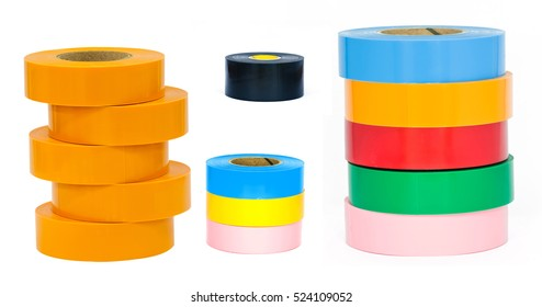 collection set of colorful adhesive tape  on white background