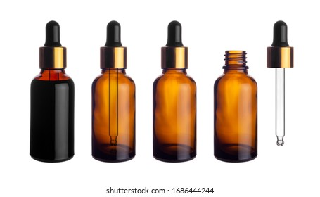 Collection set of empty transparent brown dropper bottle with pipette for canning and preserving isolated on white background with clipping path.