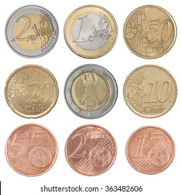 Collection set of euro coins isolated on white background
